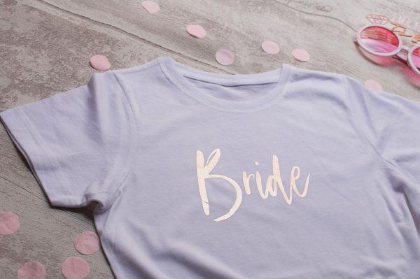 Camiseta Bride y Team bride Oro Rosa