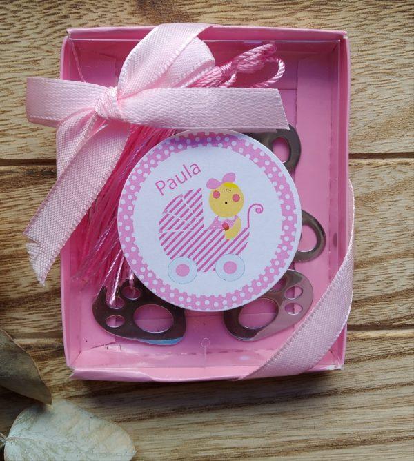 punto de libro oso bautizo carrito rosa