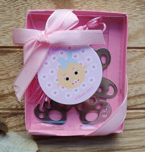 punto de libro oso bautizo bebe rosa