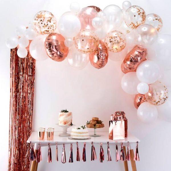 arco globos oro rosa