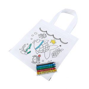 bolsa para niños colorear peces