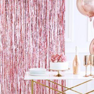 cortina fiesta oro rosa