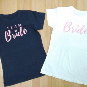 camiseta team bride rosa