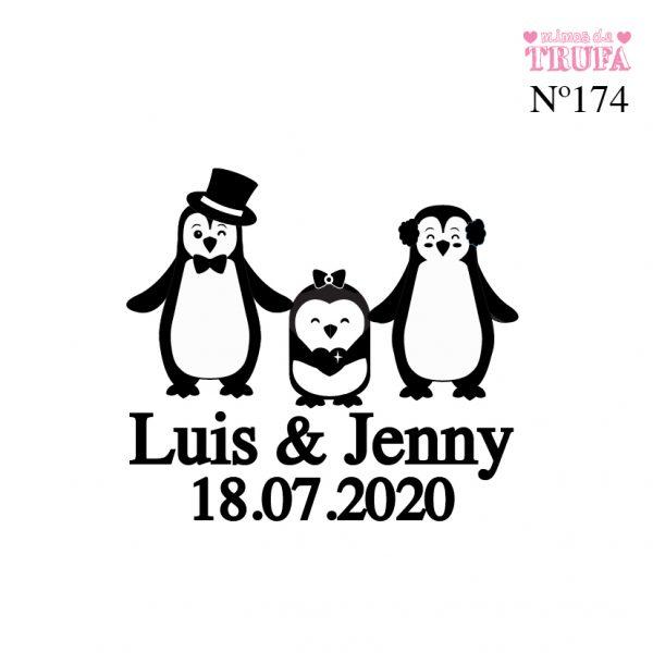 sello personalizado boda pinguinos